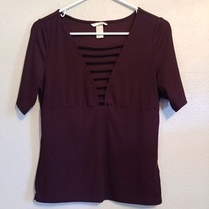H&M Sexy Cleavage Tee 3/4 Sleeve Purple Med